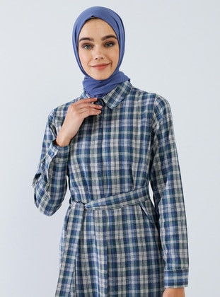 Navy Blue - Blue - Plaid - Checkered - Point Collar - Unlined -  - Dress
