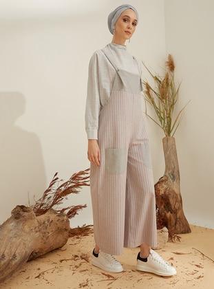Gray - Pink - Stripe - Unlined - Sweatheart Neckline -  - Jumpsuit