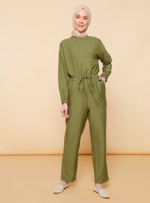 Khaki - Unlined - Crew neck - Nylon - Jumpsuit - Mnatural