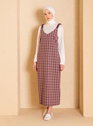 Gray - Plum - Plaid - V neck Collar - Unlined - - Dress