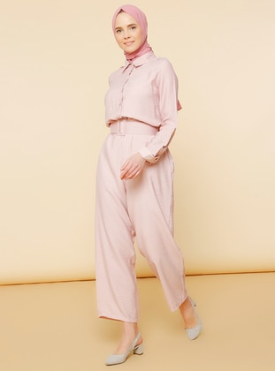 Powder - Unlined - Point Collar - Nylon - Viscose - Jumpsuit