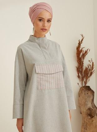 Gray - Pink - Button Collar -  - Tunic