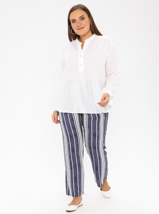Navy Blue - Stripe - Viscose - Plus Size Pants