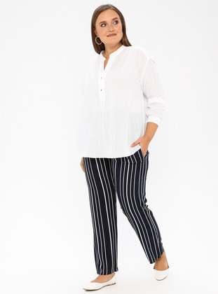 Navy Blue - Plus Size Pants