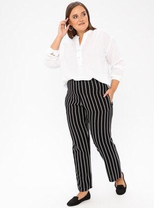 Black - Stripe - Viscose - Plus Size Pants