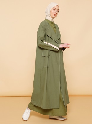 Beige - Khaki - Unlined - Shawl Collar -  - Abaya