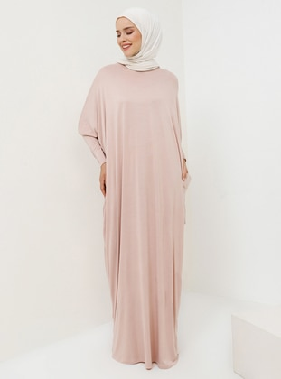 Pink - Powder - Crew neck - Unlined - Viscose - Dress