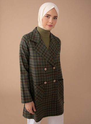 Green - Plaid - Unlined - Shawl Collar - Acrylic - - Jacket