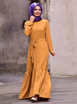 Mustard - Crew neck - Unlined - Dress