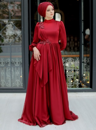 Maroon - Fully Lined - Crew neck - Viscose - Modest Evening Dress