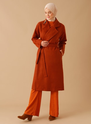 Cinnamon - Unlined - Shawl Collar - Acrylic - Coat