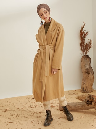 Camel - Mink - Unlined - Shawl Collar - Acrylic - Coat