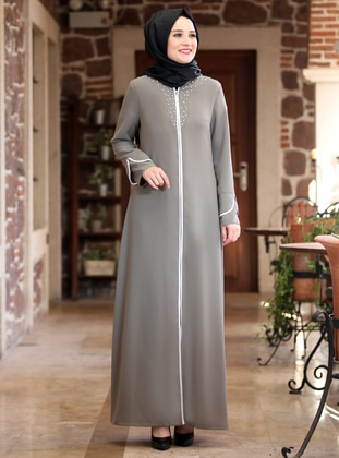 Khaki - Unlined - Crew neck - Crepe - Abaya