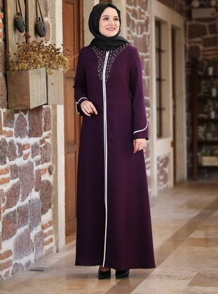 Purple - Unlined - Crew neck - Crepe - Abaya