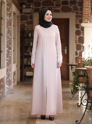 Powder - Unlined - Crew neck - Crepe - Abaya
