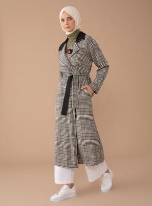 Khaki - Houndstooth - Unlined - Shawl Collar - Acrylic -  - Coat
