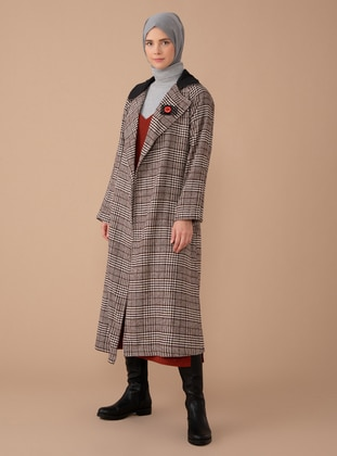 Brown - Houndstooth - Unlined - Shawl Collar - Acrylic -  - Coat