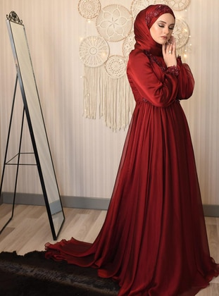 Maroon - Fully Lined - Crew neck - Viscose - Muslim Evening Dress