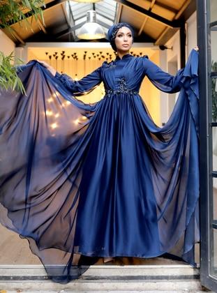 Navy Blue - Fully Lined - Crew neck - Viscose - Modest Evening Dress