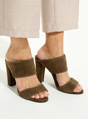 Khaki - High Heel - Slippers