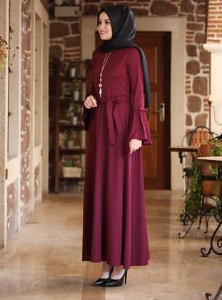 Purple - Crew neck - Crepe - Dress