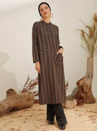 Black - Cinnamon - Stripe - Button Collar -  - Tunic
