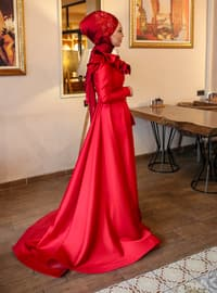 Red - Fully Lined - Crew neck - Viscose - Muslim Evening Dress