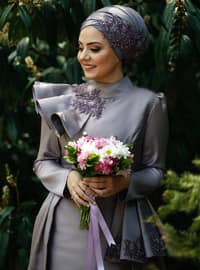 Lilac - Fully Lined - Crew neck - Viscose - Muslim Evening Dress