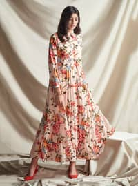 Powder - Floral - Point Collar - Unlined - Crepe - Dress