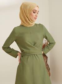 Haki - Yuvarlak yakalı - Astarsız kumaş - Naylon - Viskon - Elbise