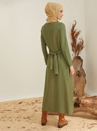 Khaki - Crew neck - Unlined - Nylon - Viscose - Dress