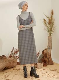 Bej - Lacivert - Ekose - V yaka - Astarsız kumaş - - Elbise