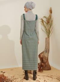 Siyah - Yeşil - Ekose - V yaka - Astarsız kumaş - - Elbise