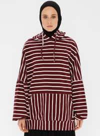 - Stripe - Maroon - Sweat-shirt