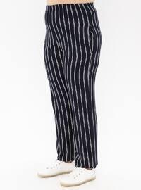 Navy Blue - Stripe - Viscose - Plus Size Pants