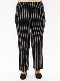 Black - Stripe - Viscose - Plus Size Pants