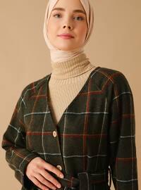 Khaki - Plaid - Unlined - V neck Collar - Acrylic -  - Coat