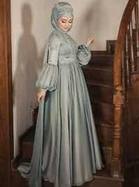 Green - Fully Lined - Crew neck - Viscose - Muslim Evening Dress