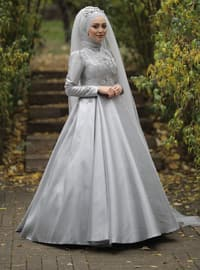 Gray - Fully Lined - Crew neck - Viscose - Muslim Evening Dress