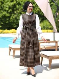 Turuncu - Çizgili - Yuvarlak yakalı - Astarsız kumaş - Elbise