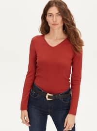 V neck Collar - Orange - T-Shirt