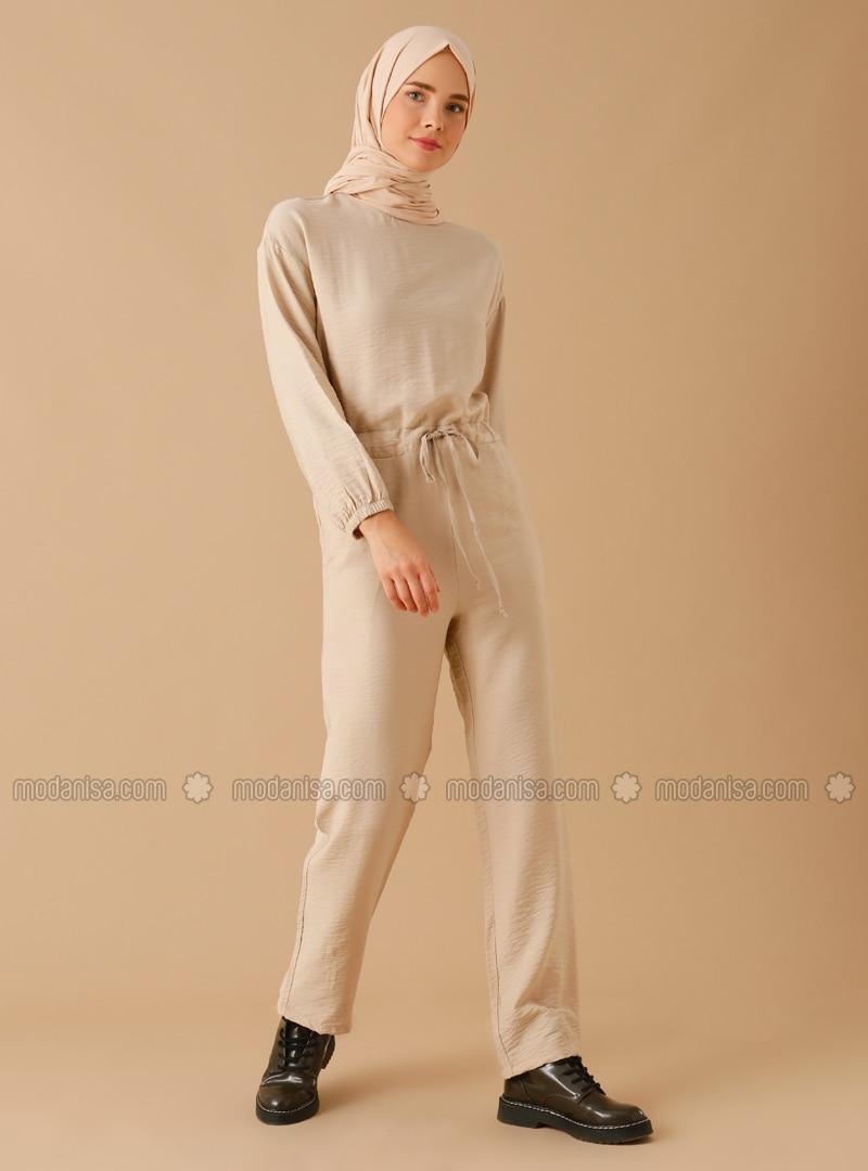 Beige - Unlined - Crew neck - Nylon - Jumpsuit