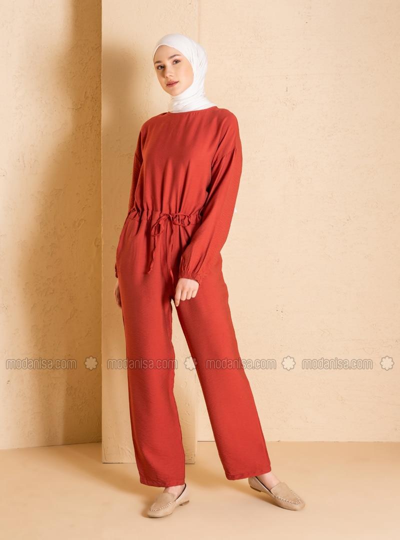 Terra Cotta - Unlined - Crew neck - Nylon - Jumpsuit