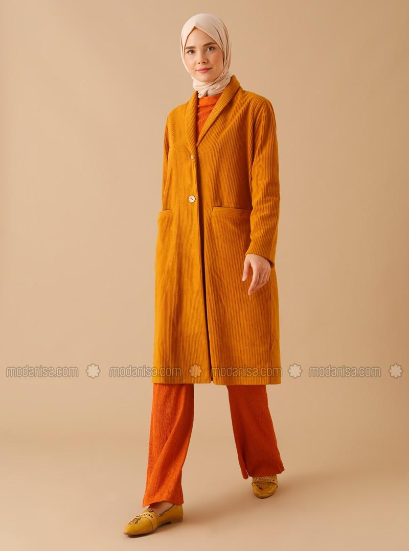 Mustard - Unlined - Shawl Collar - Topcoat