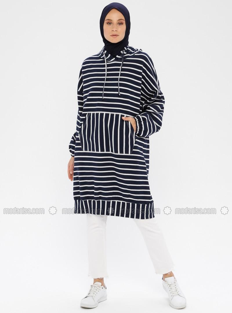 Stripe - Navy Blue - Sweat-shirt