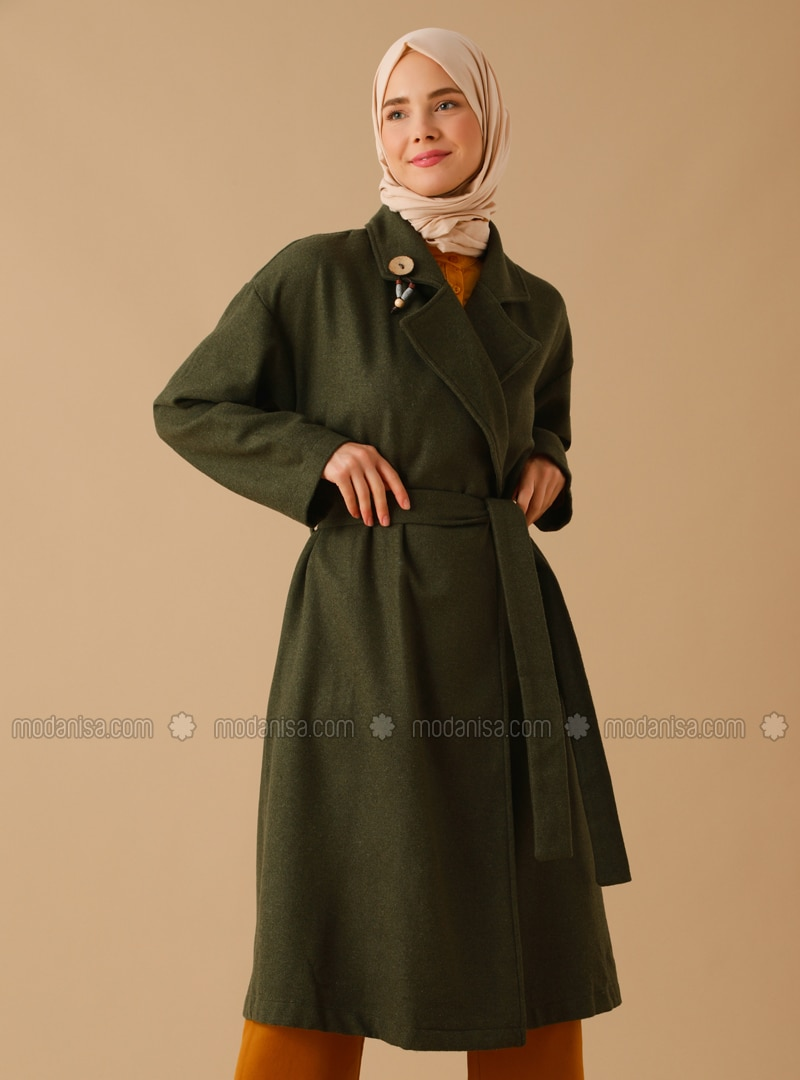 Khaki - Unlined - Shawl Collar - Acrylic - Coat