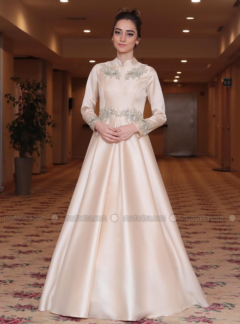Gold - Fully Lined - Crew neck - Viscose - Muslim Evening Dress