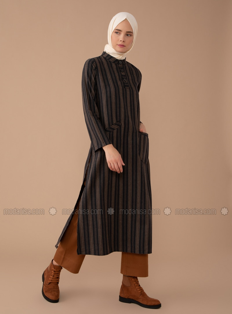 Beige - Black - Stripe - Button Collar - - Tunic