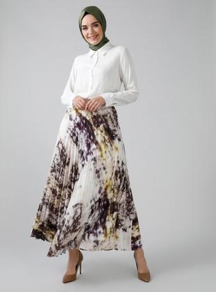 White - Ecru - Brown - Multi - Fully Lined - Skirt