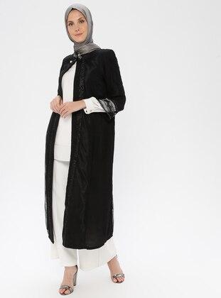 Black - Unlined - Crew neck - Viscose - Topcoat